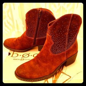Born Ambrosia Suede Studded Ankle Boots NWT